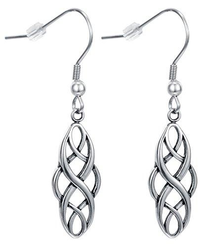 Celtic knot drop womens girls dangle Twist Wave Fish hook earrings by Regetta Jewelry - Good luck vintage Irish Symbol Jewelry-Stainless Steel for Sensitive Ears