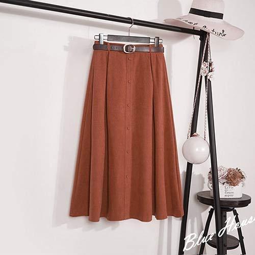 XGDLYQ Wildlederrock Weiblich Midi Lang Elegant Hoch Taillenrock Frauen Blau A-Linie Faltenrock One Size Red