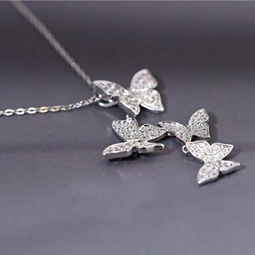 Collar Collares De Mariposa De Circonita Micro Cz Deslumbrantes De Plata De Ley 925 para Mujer, Collar De Regalo, Gargantilla De Cadena
