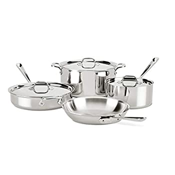 All-Clad 401488R Stainless Steel Tri-Ply Bonded Dishwasher Safe Cookware Set Image