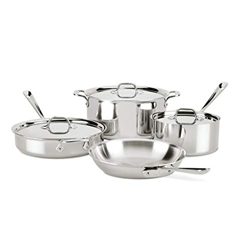 All-Clad 4007AZ D3 Stainless Steel Dishwasher Safe Induction Compatible Cookware Set, Tri-Ply...