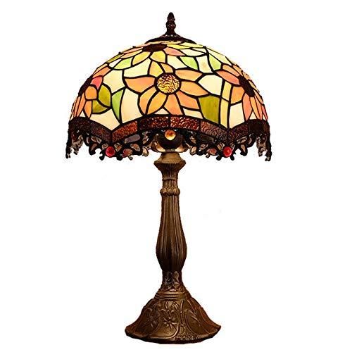 QCKDQ tafellamp 12 inch Tiffany tafellamp met zonnebloem en glazen lamp met online-schakelaar, nachtkastje, kleine tafel, decoratief licht E27