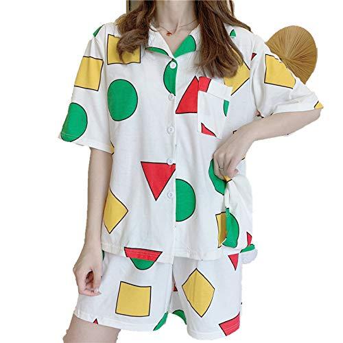 Albornoces Verano Ropa de Dormir Conjunto Femenino Gran Tamaño Impresión Geométrica Homewear Crayon Shin Chan Pijama Suelto Lindo 3 Unids Camisa+Shorts+Blinder S968