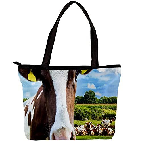 FuJae Bolso de mano para mujer Bolso de lona Bolso hobo de hombro Vaca mirando a la cámara Reutilizable para uso diario informal en la escuela