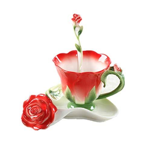 taza de porcelana Tazas De Café Con Esmalte Rosa De 150 Ml, Tazas De Té Con Plato, Cuchara, Regalo Creativo Para Amantes, Vasos