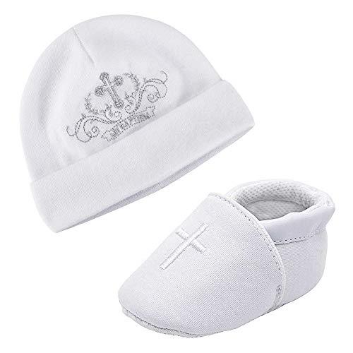 LACOFIA Neugeborene Taufe Schuhe Baby Mädchen Weiche Sohle rutschfest Hausschuhe und Bestickter Weiß Beanie Hut Set Pack 2 3-6 Monate