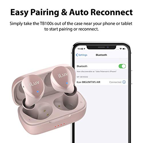iLuv TB100 Rose Gold True Wireless Earbuds Cordless in-Ear Bluetooth 5.0 with Hands-Free Call Microphone, IPX6 Waterproof Protection, High-Fidelity Sound; Includes Compact Charging Case & 3 Ear Tips 5