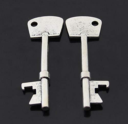 ZHONGJIUYUAN 2 piezas de recuerdos de boda para invitados de fiesta de regalos vintage llavero abrebotellas, llaves de esqueleto, abrebotellas (plata)