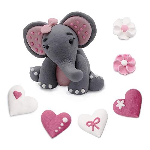 Bombasei, 7 teiliges Marzipan / Zucker Elefanten Set Rosa Tortendekoration Kindergeburtstag 37 g