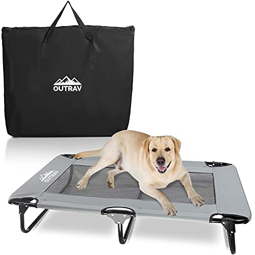 """Elevated Dog Cot with Steel Frame - Foldable Raised Play and Rest Bed for Dogs and Cats - Heavy Duty Strong Material - Pet Cot with Bonus Storage Bag (Large 42"""" x 24"""" x 8"""", Grey)"""