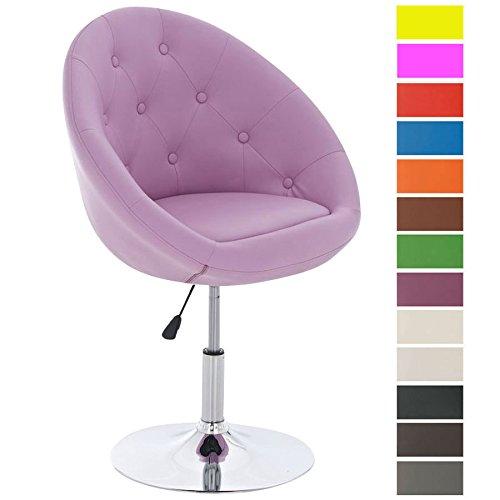 CLP Lounge-Drehsessel London mit hochwertiger Polsterung und Kunstlederbezug | Höhenverstellbarer Clubsessel erhältlich Pink