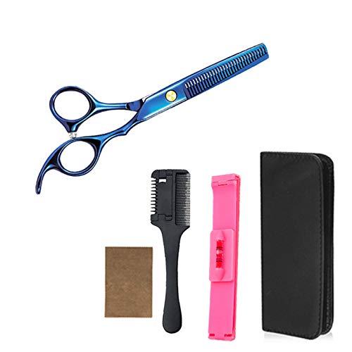 BATQER Tijeras, deslumbrantes Tijeras de peluquería de Acero Inoxidable Azul, Herramientas de Pelo Profesional, Tijeras de Dientes, Conjunto de 5 Piezas