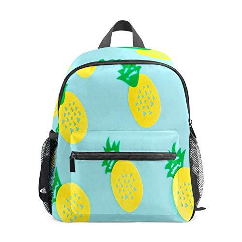 Mochila infantil para niños de 1 a 6 años de edad, mochila perfecta para niños y niñas con pintura amarilla, piñas y azul claro