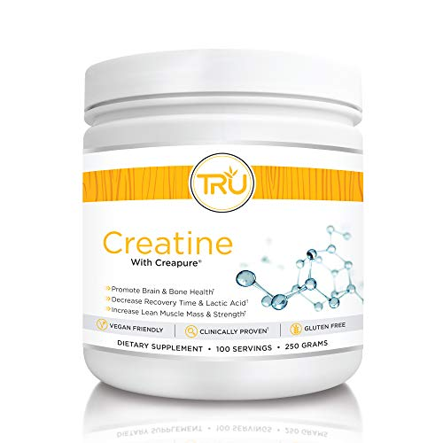 TRU Creatine | 100% Pure Patented Creapure | Increase Strength & Boost Stamina | Build Lean Muscle with Zero Water Retention or Bloating | Clinically Tested and Safe | 100 Servings