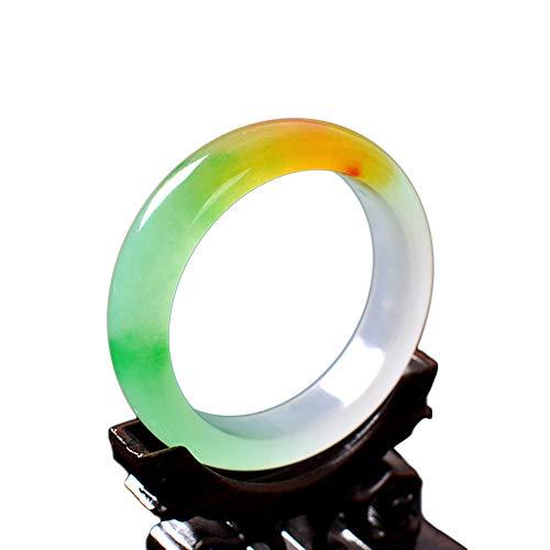 HSUMING Tricolor Jade Armband Armreif Natürliche Jade Grade A Schwimmende Blumen Armreif (58-62mm),58