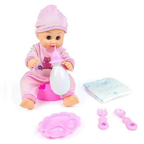Bambole Reborn in Silicone Nutrire Bambole per Bambina Interattive Bambolina con Suoni Realistici Bambolotto Neonato Vero Bambola Reborn Femmina Maschio Giocattoli Bambino 3 4 5 6 Anni (Blu o Rosa)