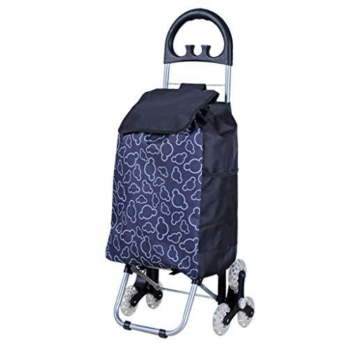 LXCS Portable Domestica Trolley, Pieghevole supermercato Carrello, Fare la Spesa rimorchio, Arrampicata Trolley Carrier (Color : Print)