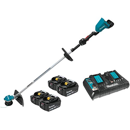 Makita XRU09PT1 18V X2 (36V) LXT Lithium-Ion Brushless Cordless String Trimmer Kit with 4 Batteries (5.0Ah), Teal
