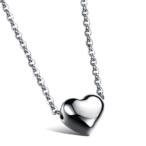 Cupimatch Herz Kette Rosegold Silber Edelstahl Lieben Herzanhänger Anhänger Halsband mit 46.5 Halskette