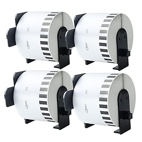 Aomya DK-2205 BRO - Confezione da 4 rotoli di carta per etichette compatibili con stampanti QL-700, QL570, QL710W, QL800, QL810W, QL1060N, QL720NW QL550 (4)