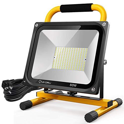Onforu 80W LED Baustrahler mit 5M Netzkabel, 7600LM Arbeitsscheinwerfer mit 2 Helligkeit, 5000K Kaltweiß Baustellenlampe, IP65 Wasserdicht Baustellenstrahler Strahler für Baustelle, Werkstatt, Garage
