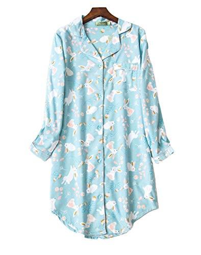 Camisón Mujer Botones Invierno algodón Pijamas de Manga Larga Vestido de Dormir Camisa de Noche con Cuello en V para Mujer Camisónes