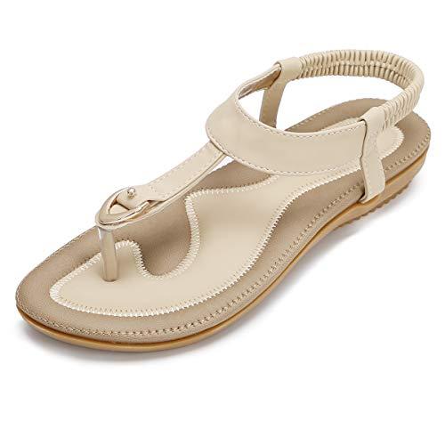 KUONUO Sandales Plates Femme, Chaussures de Ville Ete a Talons Plats Compenses Tong Confortable, Noir Beige Flip Flops Chaussure Plage Vacances, Beige, 40 EU