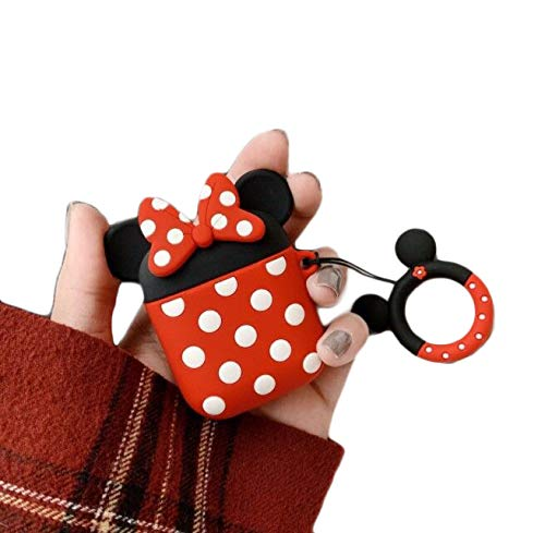 Cocomii 3D Disney AirPods Hülle, Schlank Dünn Matte Sanft TPU Silikon Gummi Gel Mit Schlüsselring 3D-Disney-Figuren Karikatur Mode Hülle Bumper Cover Schutzhülle Compatible with Apple AirPods (Minnie)
