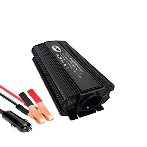 LIDER.-600W (1200W Pico) Inversor de Corriente Onda sinusoidad modificada, tranformador Convertidor de DC24V/ a AC220V, Nuevo Diseño con Pantalla LCD, Toma Encendedor y Pinzas de bateria