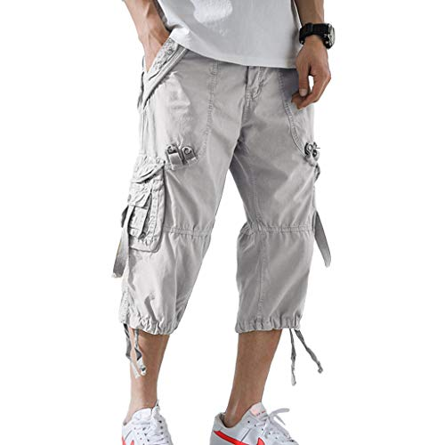 AOYOG Mens Cargo Shorts 3/4 Relaxed Fit Below Knee Capri Cargo Short Cotton White Grey