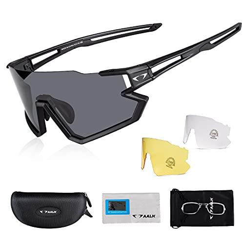 AALK Gafas de ciclismo polarizadas con 3 lentes intercambiables para hombres y mujeres, gafas de sol deportivas