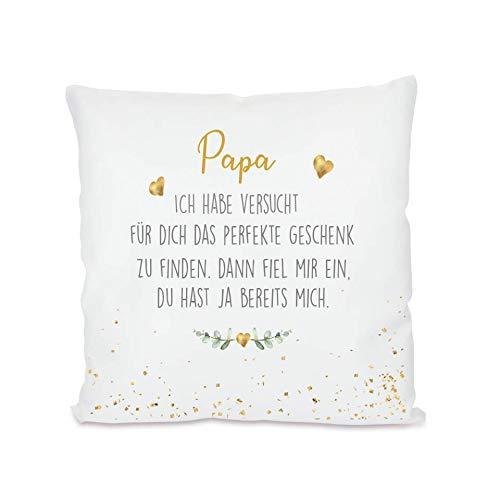 """Manufaktur Liebevoll I Kissen """"Papa, ich Habe versucht I Geschenk für den Papi, Vater I Besondere Geschenkidee als Dankeschön, zum Geburtstag und zu Weihnachten I 40x40 cm"""