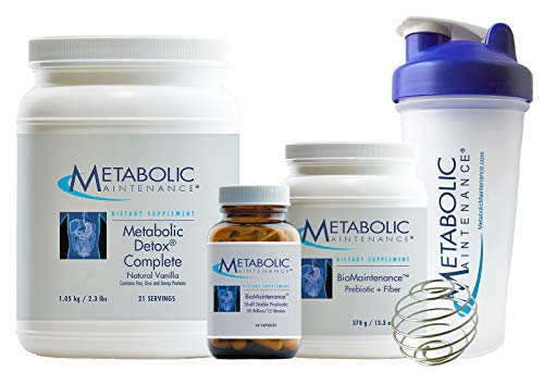 Metabolic Maintenance Restorative Cleanse Kit - 21 Day Detox to Support Energy, Focus + Gut Health - Pea Protein Meal Replacement, Probiotics, Prebiotics, Shaker Bottle + Guide (3 Products)