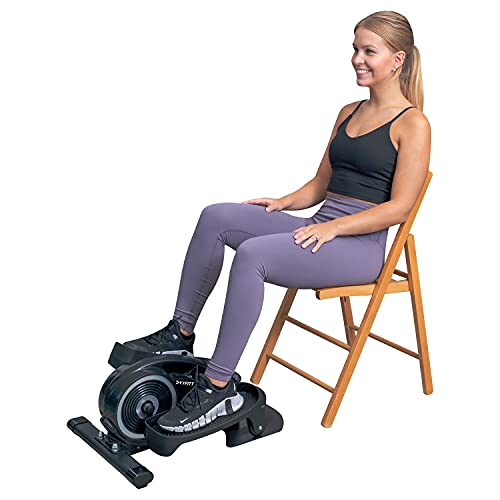 YYFITT Under Desk Mini Elliptical Trainer for Home & Office, Smooth & Quiet Pedaling with Adjustable Resistance and Big Display Pedal Exerciser (Black)