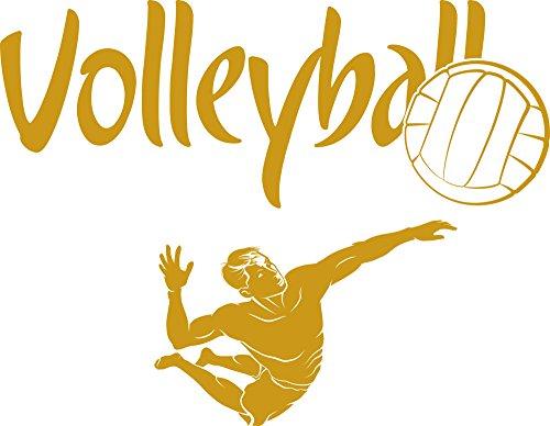 GRAZDesign 660109_30_820 Wandtattoo Volleyball   Spielzimmer Wandsticker Sportler   Aufkleber in 47 Farben (39x30cm//820 Mustard)