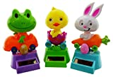 Millwood Brothers Dancing Animal Toys: Spring Solar Powered Dancing Bunny, Chick and Frog Each in its own Motorized Vehicle (3 Pack) | Cool Home Party Décor Or Gift Idea