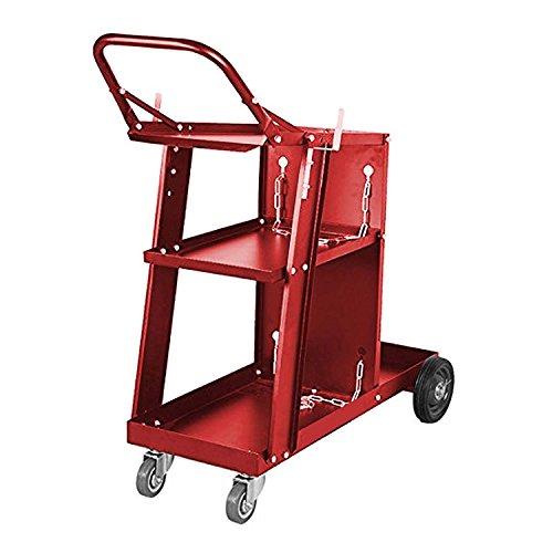 Chariot de soudage - Soudage au plasma - Grand espace de rangement - Pour réservoirs et bouteille de gaz - Rouge