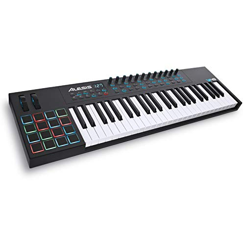 Alesis VI49 | 49-Key USB MIDI Keyboard Controller with 16 Pads, 16 Assignable Knobs, 48 Buttons and 5-Pin MIDI Out Plus Production Software Included