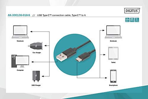 DIGITUS USB 2.0 Anschluss-Kabel - 1.8m - Verbindungskabel von USB Typ A auf USB Type-C - High-Speed 480 Mbit/s - Schwarz