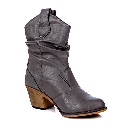 Charles Albert Damen Moderner Westernstiefel Cowboy Distressed Stiefel mit Pull-Up Tabs, (grau), 39 EU