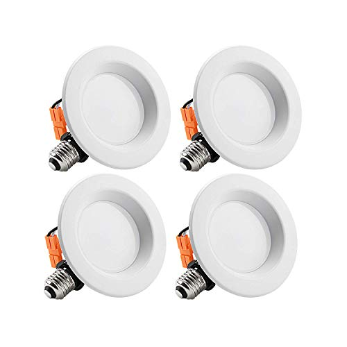 TORCHSTAR 4-Inch Dimmable Recessed LED Downlight with Smooth Trim, 10W (65W Eqv.), CRI 90, ETL, 2700K Soft White, 700lm, Retrofit Lighting Fixture, 5 Years Warranty, Pack of 4
