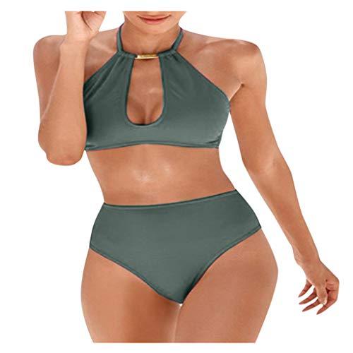 Fenverk Bikini Tankini Bademode Badeanzug Monokini Retro Groß Größe Sets Plus Size Bandeau High Waist Bikini Damen Bauchweg,Halter Rüschen Hoher Taille Zweiteilige Strandkleidung(A Armeegrün,L)