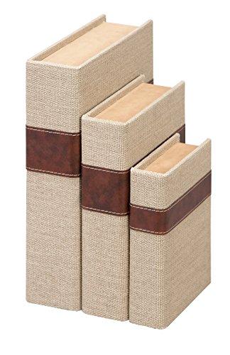 Deco 79 62245 Wood & Burlap Box Set of 3