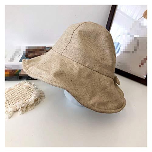 LiuQ Sombrero de Playa Primavera Verano Bowknot Plegable Mujeres Cubo Sombrero Playa Sombrero Calle Calle Cabeza Protector Solar algodón Mujeres Pescador Sombrero Proteccion Solar