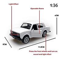 GaoHR LADA 2107 1:32 / LADA 2107 1:36スケールモデル車の集まりのおもちゃのおもちゃの音と光 HR (Color : 2107 White 36 Scale)