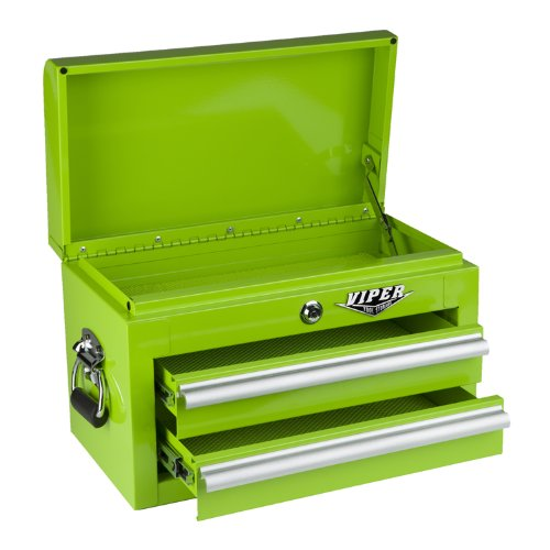 Viper Tool Storage LB218MC 18-Inch 2-Drawer 18G Steel Mini Storage Chest w/ Lid Compartment, Lime Green