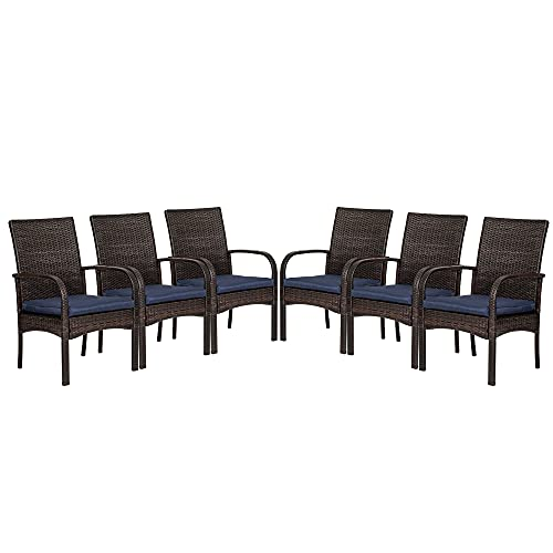VOYSIGN Outdoor Wicker Chair, Patio Dining Chairs with Removable Cushions, Fire Pit Chairs Set of 6