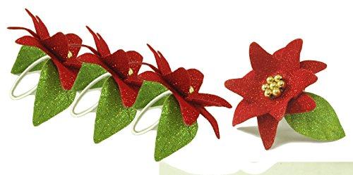 Poinsettia Glitter Red & Green Decorative Napkin Rings - Set of 4