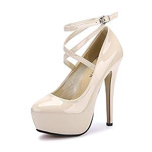 OCHENTA Donna sandali tacco alto della caviglia della piattaforma della cinghia di vestito dal partito della pompa