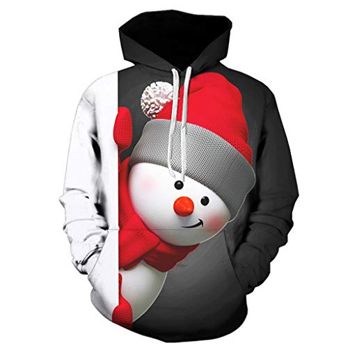 Yowablo Hoodie Herren Damen 3D Druck Kapuzenpullover Langarm Hooded Sweatshirts 3D gedruckte Weihnachtspullover (5XL,3Schwarz)